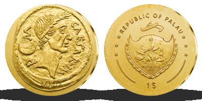 JULIUS CAESAR na minci z 24-karátovom zlate