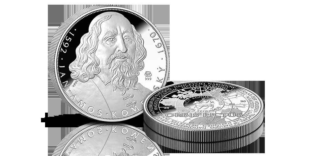 5uncová strieborná medaila 425. výročie narodenia J. A. Komenský