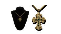 Kríž so zelenými Swarovski kryštálmi