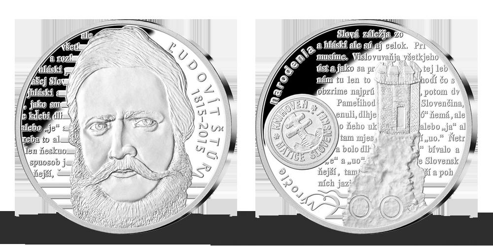 Ľudovít Štúr - pamätná medaila z rýdzeho striebra venovaná 200. výročiu narodenia