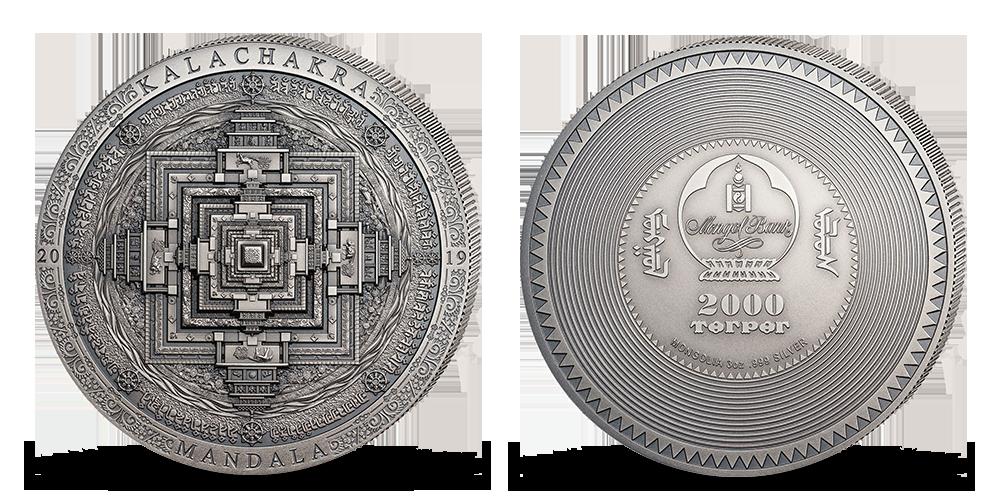 Mandala Kálačakra na minci z rýdzeho striebra