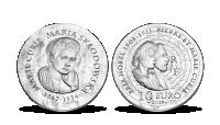Strieborná minca s portrétom Marie Curie Sklodowské