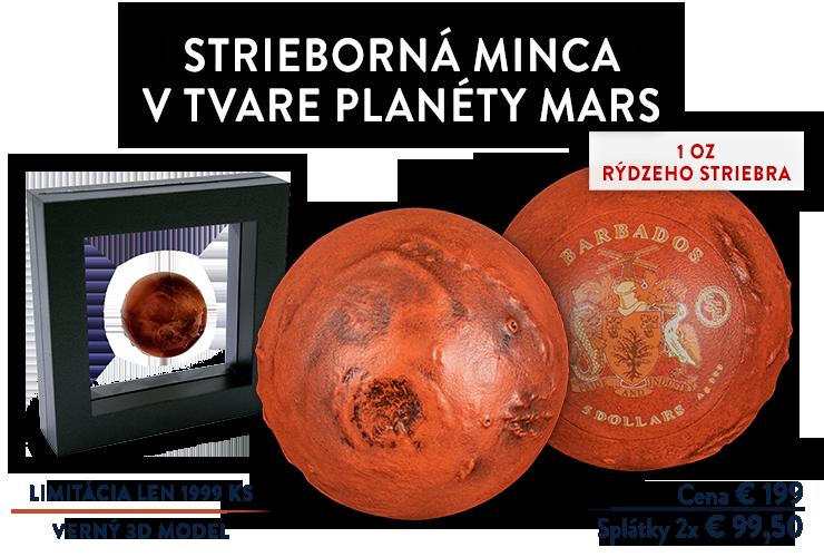 Strieborná minca v tvare planéty Mars