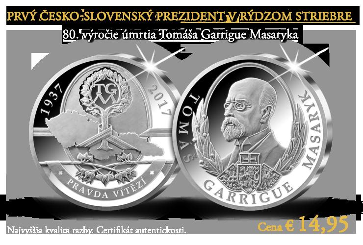 Prvý česko-slovenský prezident v rýdzom striebre