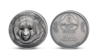 Medveď Gobi na minci z jednej unce rýdzeho striebra