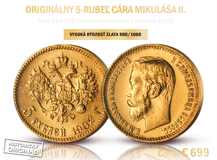 Originálny 5-rubeľ cára Mikuláša II.