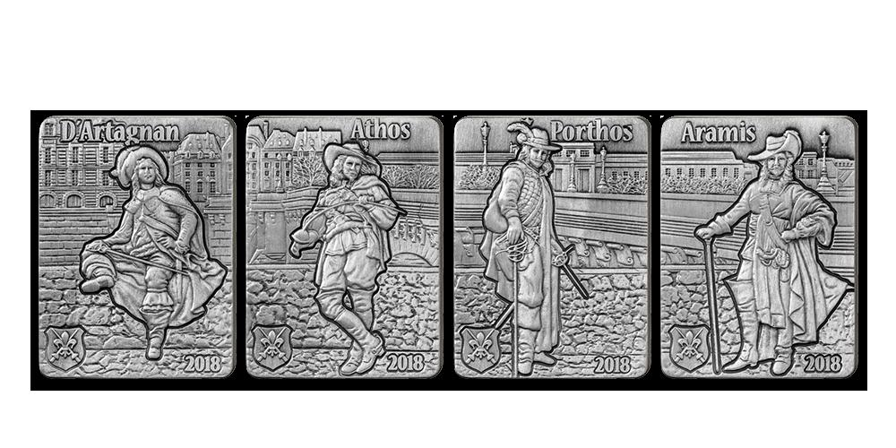 Mušketieri Alexandra Dumasa na 4 strieborných minciach