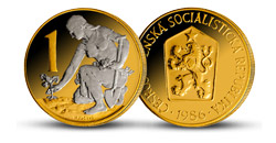 Legendárna československá koruna - originál mince zušľachtený vzácnym ródiom a rýdzim zlatom