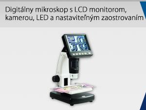 Digitálny mikroskop s LCD monitorom, kamerou, LED a nastaviteľným zaostrovaním