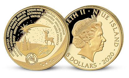 Minca Veselé Vianoce na numizmate z 3,11 gramov rýdzeho zlata