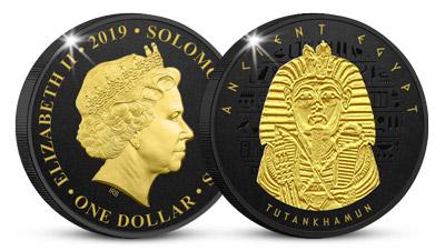 Tutanchamón na minci zušľachtenej čiernym niklom a 24k zlatom