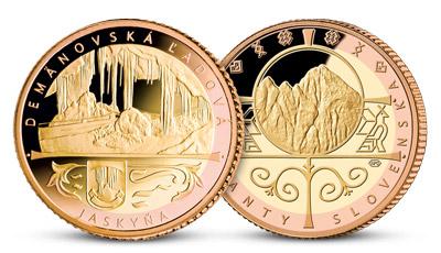 Demänovská ľadová jaskyňa na medaile, uctená rýdzim ružovým a žltým zlatom