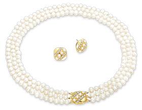 Kráľovský perlový náhrdelník s náušnicami