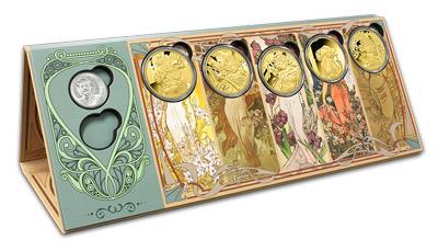 Pamätná kolekcia tvorí 7 pamätných razieb zasadených do štýlového numizmatického zakladača