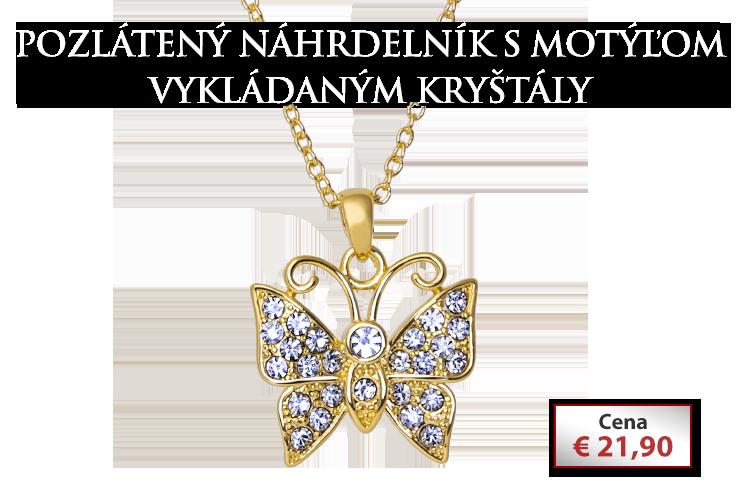 Pozlátený náhrdelník s motýľom