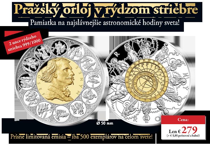 Pražský orloj v rýdzom striebre