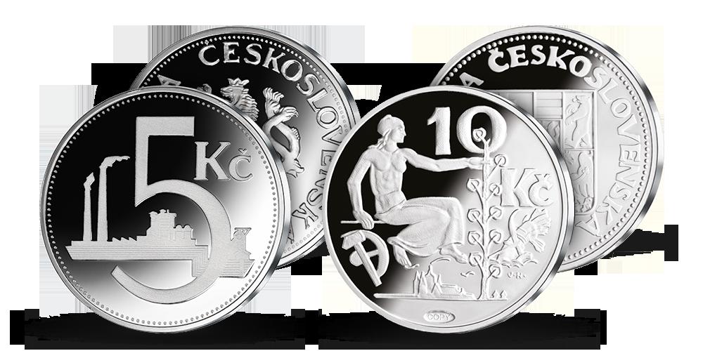 Československá desaťkorunáčka z roku 1933 a päťkorunáčka z roku 1937