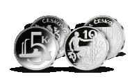 Československá desaťkorunáčka z roku 1933 a päťkorunáčka z roku 1937 - repliky zušľachtené rýdzim striebrom