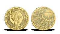 Rok prasaťa na mincI z rýdzeho zlata