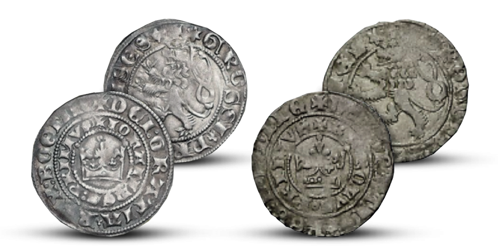 Sada pražských grošov Ján Luxemburský, Karel IV.