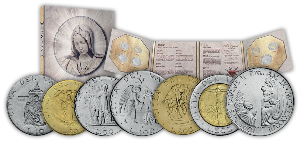 Sada siedmych originálnych mincí emitovaných Vatikánom