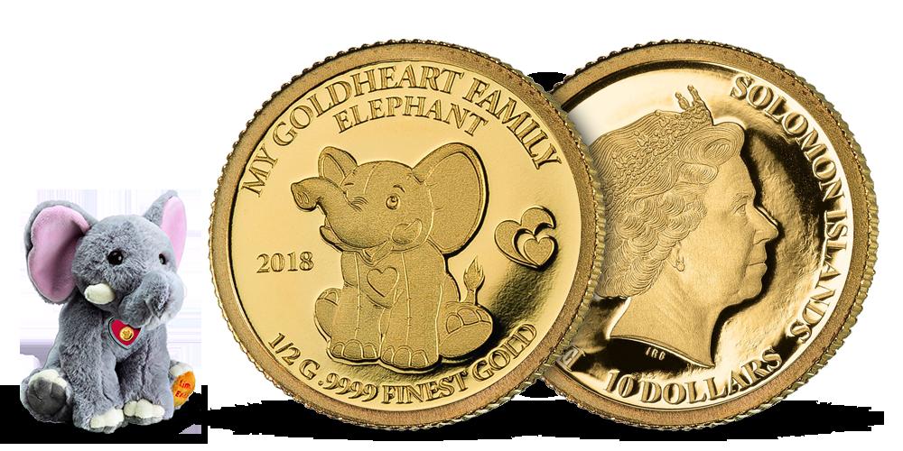 Sloník Moya v rýdzom zlate