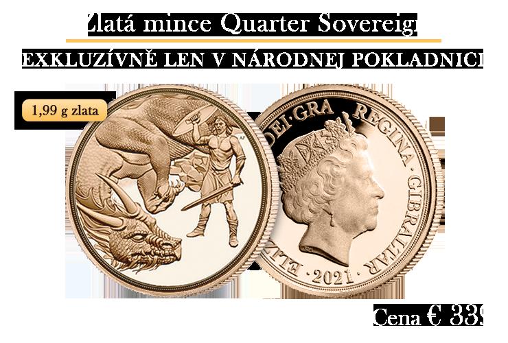 Tradičný zlatý quarter sovereign 2021