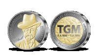 Strieborná medaila T. G. Masaryk zušľachtená zlatom a ruténiom