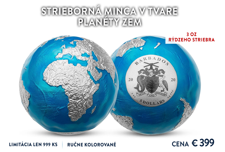 Strieborná minca v tvare planéty Zem