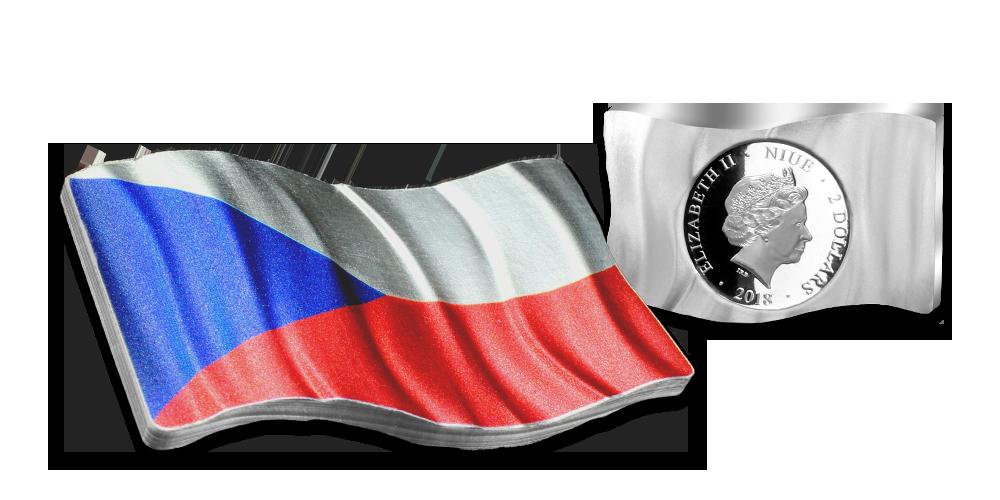 Strieborná minca s vlajkou Česko-Slovenska