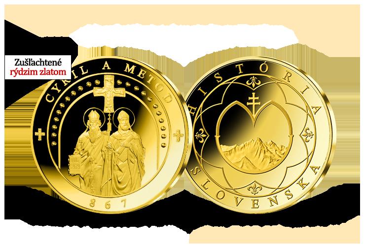 Svätí Cyril a Metod - pamätná medaila zušľachtená 24-karátovým zlatom!