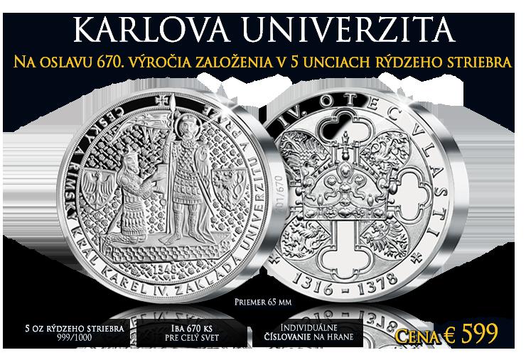 Medaila Karlova univerzita v pravom striebre