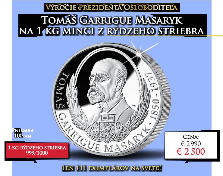 Tomáš Garrigue Masaryk na oficiálnej minci z 1 kg striebra