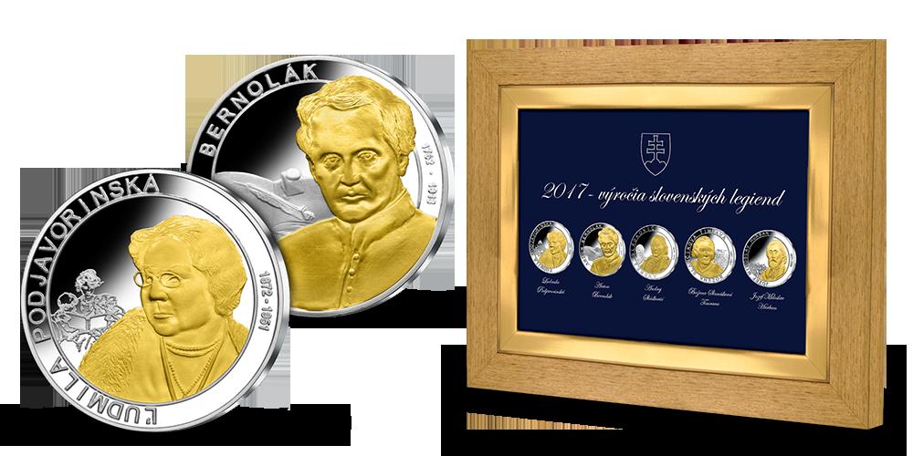 Unikátny komplet 5 medailí z rýdzeho striebra v exkluzívnom ráme