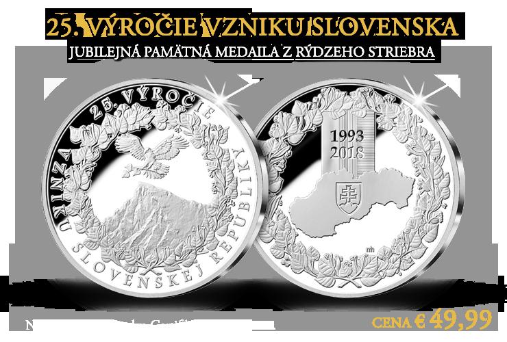 Pamätná strieborná medaila 25. výročie vzniku Slovenska