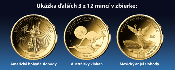 Ukážka ďalších 3 z 12 mincí v zbierke - Walking liberty, Australian kangoroo, Mexican Libertad