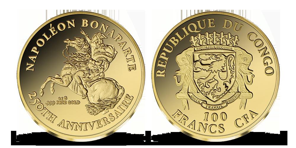 Napoleon Bonaparte na minci z rýdzeho zlata