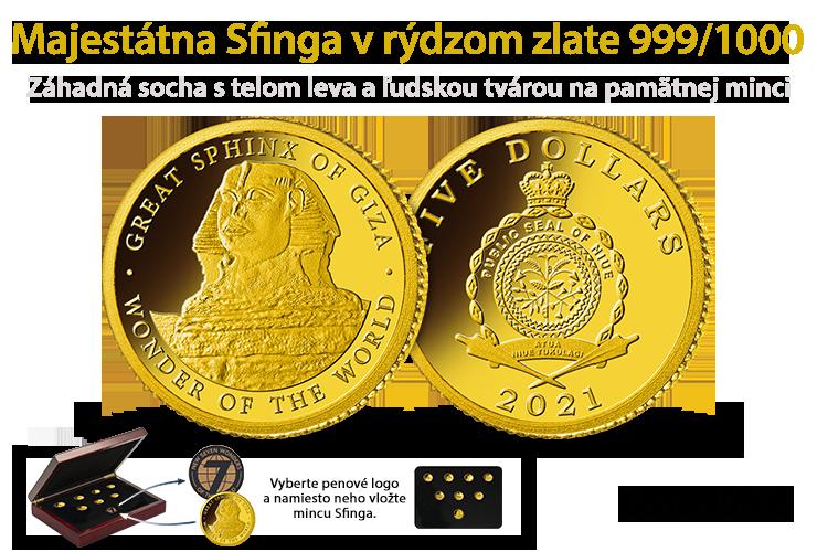 Majestátna Velka Sfinga v rýdzom zlate