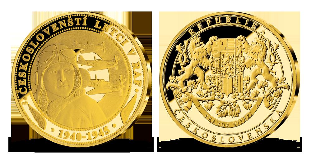 Razba Českosloveskí letci v RAF rýdze zlato 999/1000