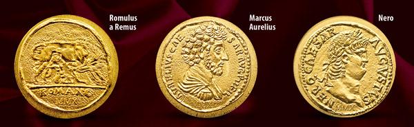 Mince s vyobrazením Romula a Rémusa, Marca Aurelia, Nera a mnohých ďalších
